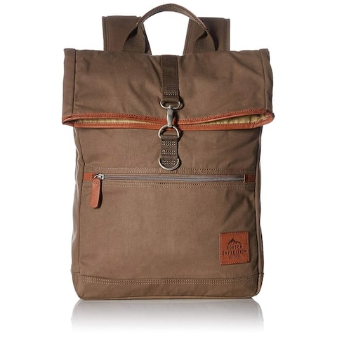 Buxton Men's Expedition II Huntington Gear Fold-Over Canvas Backpack Olive