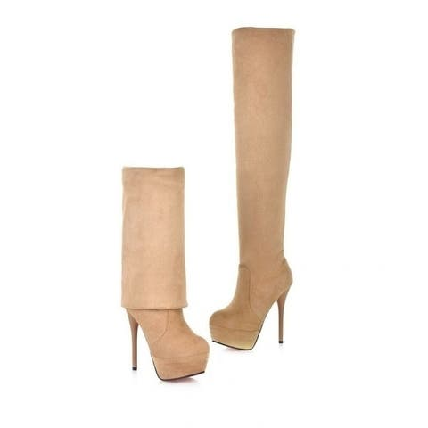 Flock Ultra High Heels Over The Knee Motorcycle Boots Women Spring Autumn Casual High Heels Platform Boots Large Size