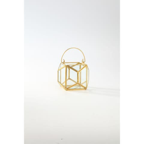 """4.5"""" Clear and Gold Colored Terrarium Hanging Glass Planters"""