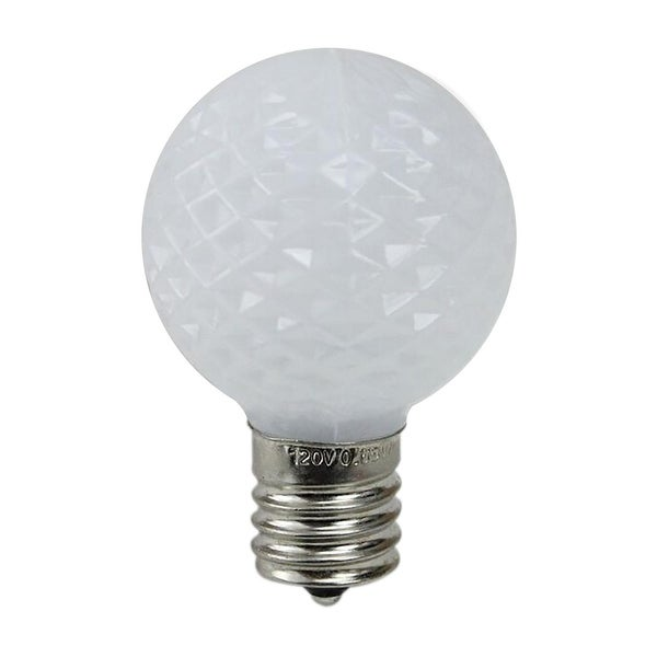 Pack of 25 Faceted LED G40 Pure White Christmas Replacement Bulbs