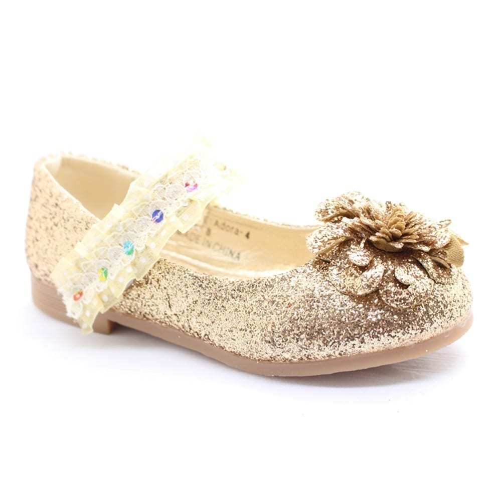 save off finest selection how to buy Shop Little Girls Gold Glitter Lace Sequin Trim Flower Dress Shoes ...