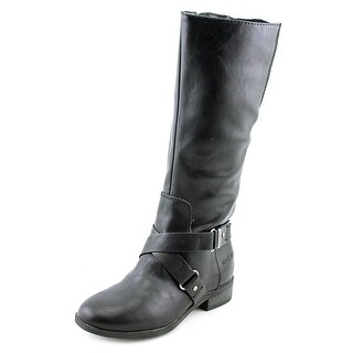 Nine West Sabia Youth Round Toe Synthetic Black Mid Calf Boot