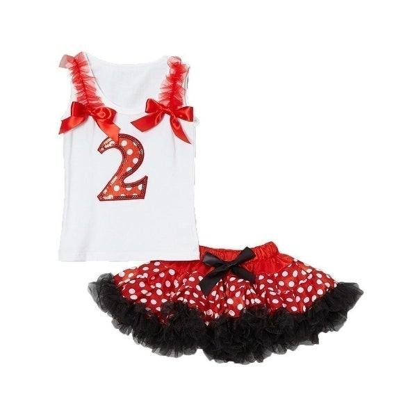 Cinderella Couture Baby Girls Red White Polka Dots Numbered Top Tutu Set 1-2Y
