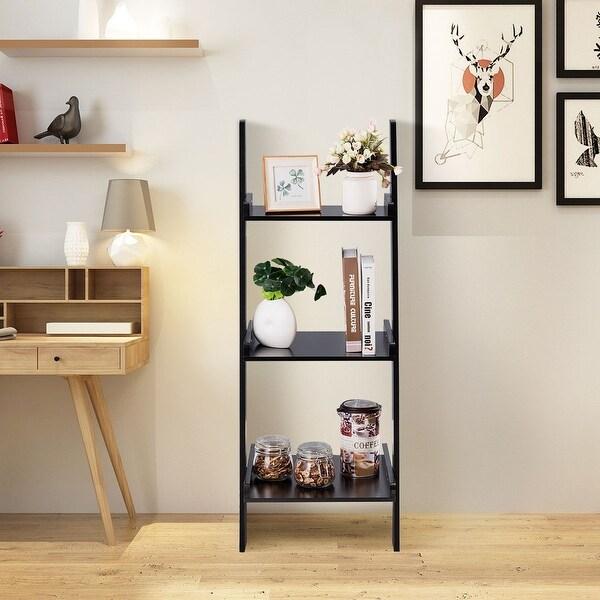 Costway 3 Tier Leaning Rack Wall Ladder Book Shelf Bookcase Storage Display Multipurpose