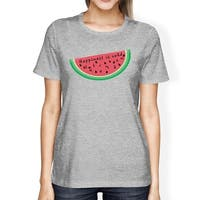 Happiness Is Cold Watermelon Womens Summer Cotton Shirt Crewneck
