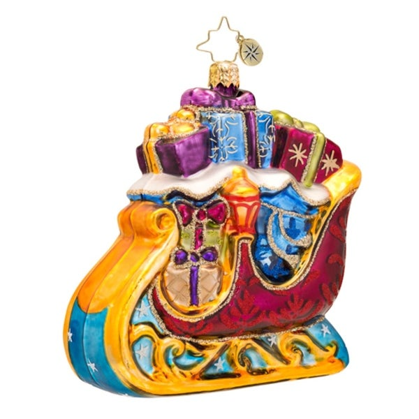Christopher Radko Glass Star Dasher Santa's Sleigh Christmas Ornament #1017511