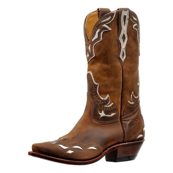 Boulet Western Boot Women Overlay Snip Toe Lined Hillbilly Golden