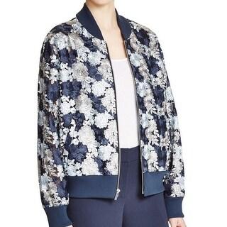 DKNY NEW Blue Women's Size Medium M Full-Zip Embroidered Bomber Jacket