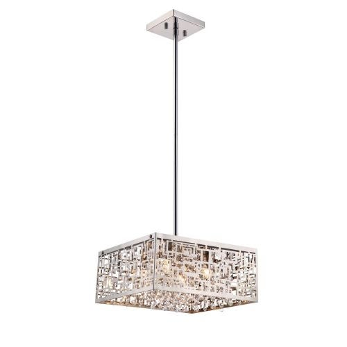 Bromi Design B8201S Metropolitan 4 Light Pendant with Square Patterned Metal Shade and Crystal Accents - Silver