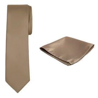 Jacob Alexander Solid Color Men's Tie and Hanky Set - One size
