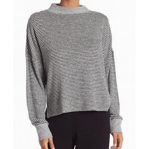 Free Press Gray Striped Women's Small S Turtleneck Mock Sweater