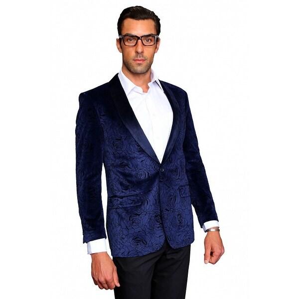 MZV-414 NAVY Men's SLIM FIT Manzini Fancy 2 button Paisley design Velvet, sport coat.