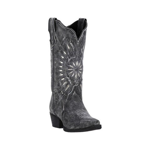 Laredo Western Boots Womens Starburst Snip Toe Leather Black