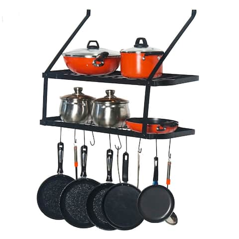 Pot Rack Wall Mounted Pan Hanging Racks 2 Tire (Black)
