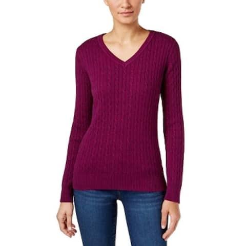 Karen Scott Women's Cable-Knit Marled Sweater (PXL) - PXL