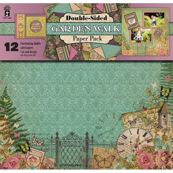 """Hot Off The Press Double-Sided Paper Pack 12""""X12"""" 12/Pkg-Garden Walk"""
