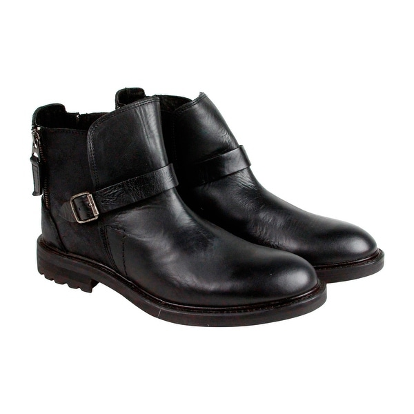 GBX Teem Mens Black Leather Boots Strap Boots Shoes