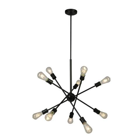 Eglo Etris Row 10-Light Black Open-Bulb Pendant