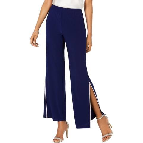 MSK Womens Petites Wide Leg Pants Embellished Split Hem - Midnight - PXL