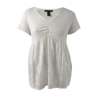 Style & Co Women's Embroidered Short-Sleeve Top (XL, Winter White) - Winter White - xL