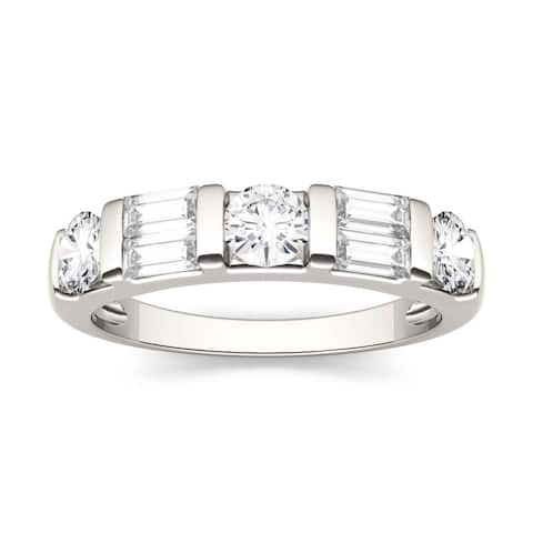 14k White Gold 1.15ct Moissanite Baguette & Round Stackable Ring