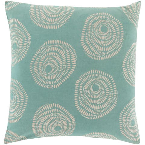 Decorative Cailyn Teal Circles and Dots 20-inch Throw Pillow Cover