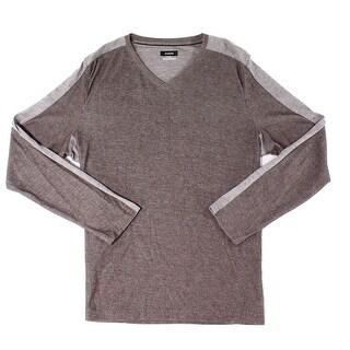 Alfani Brown Beachnut Mens Size Medium M Two-Toned V-Neck Sweater