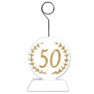 "Pack of 6 White and Gold Glittered ""50"" Photo or Balloon Holder Party Decorations 6 oz."