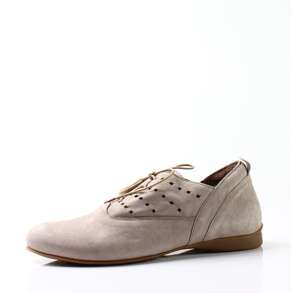 Think! NEW Kork Beige Women's Shoes Size 9M Lace-Up Suede Oxfords