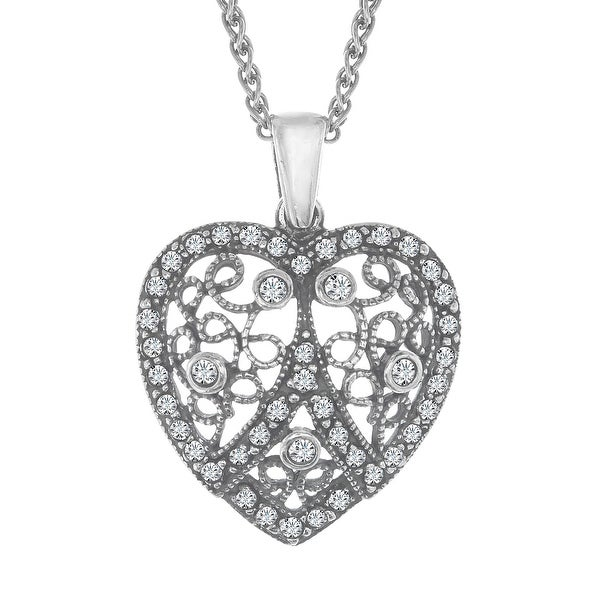 Van Kempen Victorian Heart Pendant with Swarovski elements Crystals in Sterling Silver