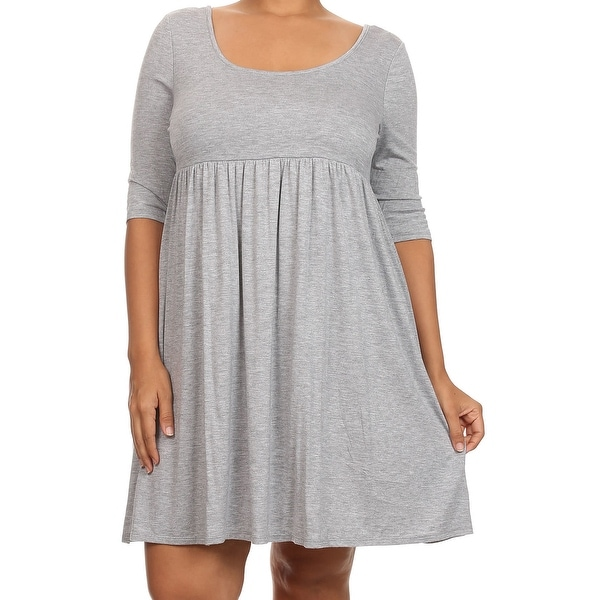 Shop Women Plus Size Half Sleeve Solid Babydoll Casual Tunic Top