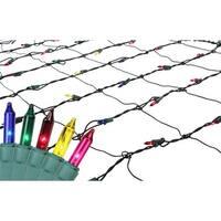 4' x 6' Multi-Color Mini Incandescent Christmas Net Lights - Green Wire - multi