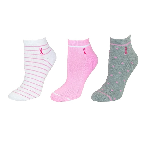 Think Medical Women's No Show Socks Breast Cancer Awareness (3 Pair Pack)