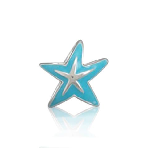 Nautical Blue Starfish Tropical Vacation Bead Charm For Women For Teens 925 Sterling Silver Fits European Bracelet