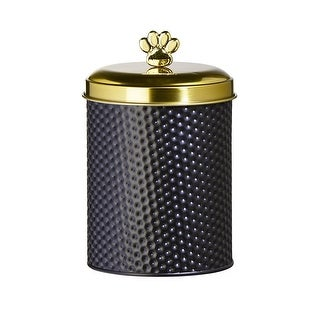 Amici Woofgang Pet Storage Canister 70 oz Black Gold Lid