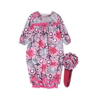 Isobella & Chloe Baby Girls Pink Leanne Flower Pattern Ruffle Layette Sack