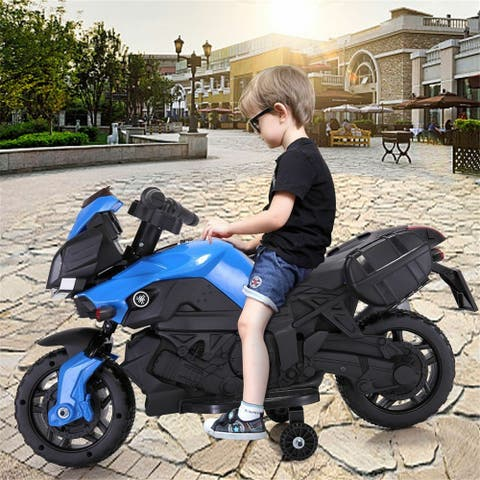 "12V children's electric motorcycle w/drive battery, cool electric car - 7'6"" x 9'6"""
