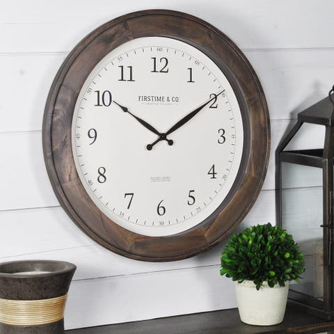 FirsTime & Co. Barnes Wall Clock, American Crafted, Rustic Brown, Wood, 16 x 1 x 16 in