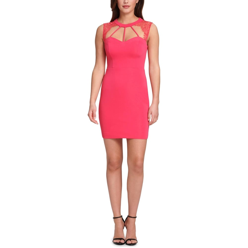 Guess Womens Cocktail Dress Knit Lace Inset - Azelea