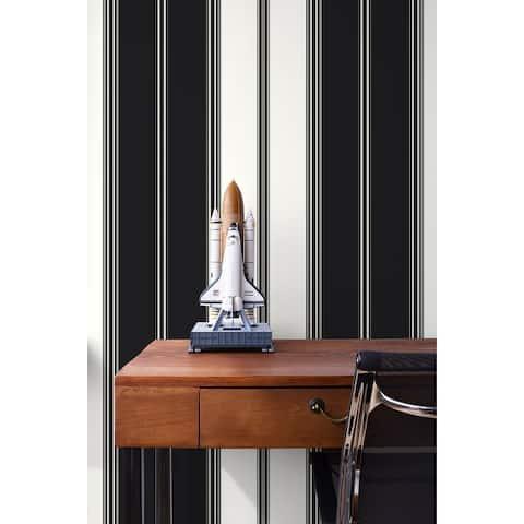 Seabrook Designs Tailored Stripe Unpasted Wallpaper