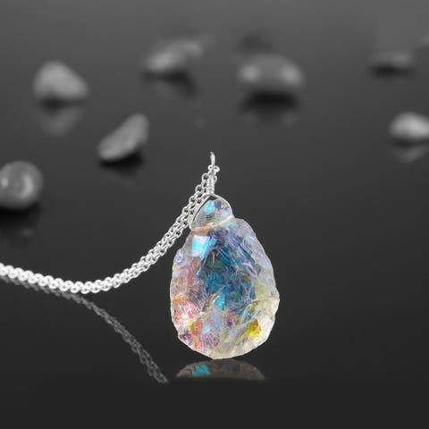 Evaluesell Angel Aura Quartz Pendant Necklace 925 Sterling Silver
