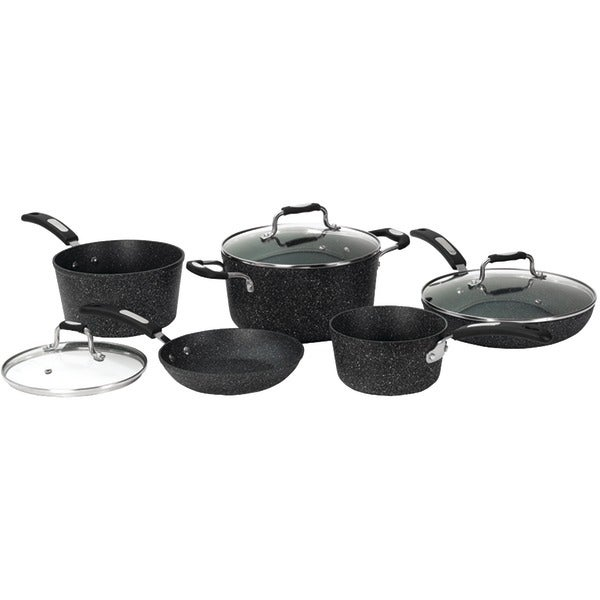 The Rock By Starfrit 030930-001-0000 The Rock(Tm) By Starfrit 8-Piece Cookware Set With Bakelite(R) Handles