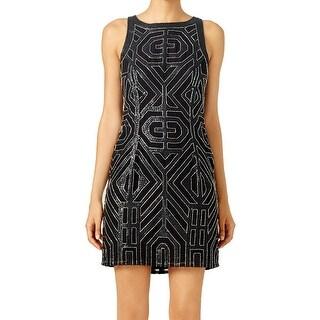 Vie La V NEW Black Women's Size 10 Shift Embellished Chrysler Dress