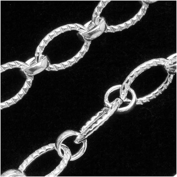 Sterling Silver Long & Short Oval Chain Textured 5mm - By The Foot