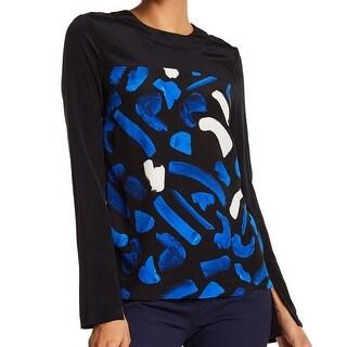 Jason Wu Grey NEW Blue Black Women's Size 0 Brush Stroke Silk Blouse