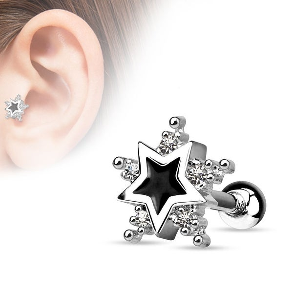 {Clear}5 CZ Star with Black Enamel Centered Star 316L Surgical Steel Cartilage/Tragus Barbell (Sold Ind.)