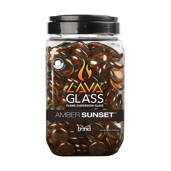 Pack of 4 Amber Sunset Round Heat Resistant Lava Glass - N/A