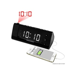 Magnasonic USB Charging Alarm Clock Radio for Smartphones with Time Projection, Battery Backup, Auto Time Set