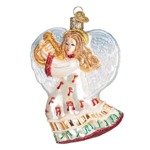 """3.5"""" Old World Christmas Take Note Angel Glass Ornament #10214 - WHITE"""
