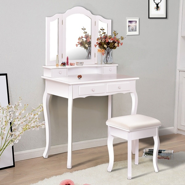 Costway Vanity Makeup Dressing Table Set Bathroom W Stool 4 Drawermirror Jewelry Wood